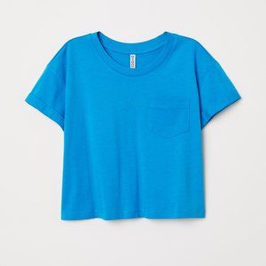 H&M Bright Blue Cropped Pocket T-Shirt
